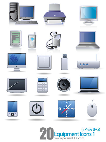 دانلود آیکون های تجهیزات الکتریکی، لوازم صوتی و تصویری -01 Equipment Icons