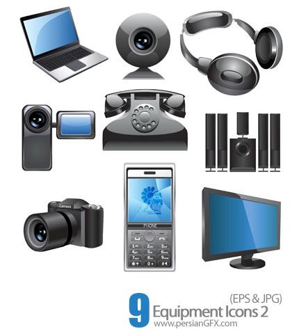 دانلود آیکون های تجهیزات الکتریکی، لوازم صوتی و تصویری - 02 Equipment Icons