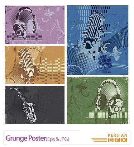 دانلود وکتوربک گراند موسیقی، پوستر بافت کثیف - Grunge Poster
