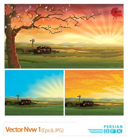 دانلود وکتور منظره، چشم انداز رویایی - Vector Nvw 01