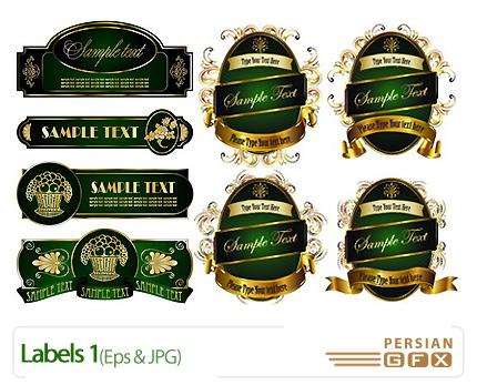 دانلود وکتور لیبل طلایی، سبز رنگ - Labels 01