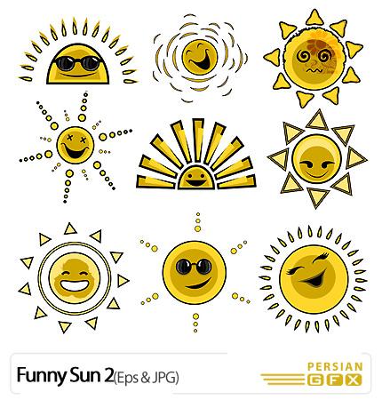 PersianGFX - خورشیددانلود وکتور فانتزی خورشید، طلایی - Funny Sun 02