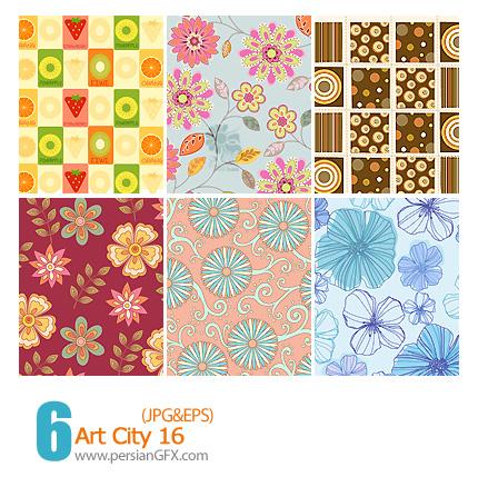 دانلود پترن های تزیینی وکتور گلدار، فانتزی، کاغذ کادو شماره شانزده - Art City 16