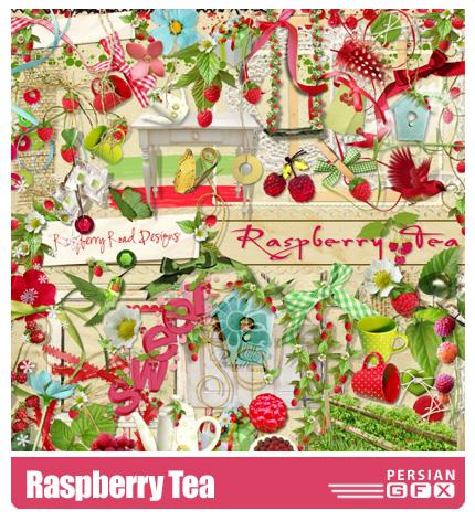 دانلود کلیپ آرت تزیینی، تمشک، بافت، حروف - Raspberry Tea
