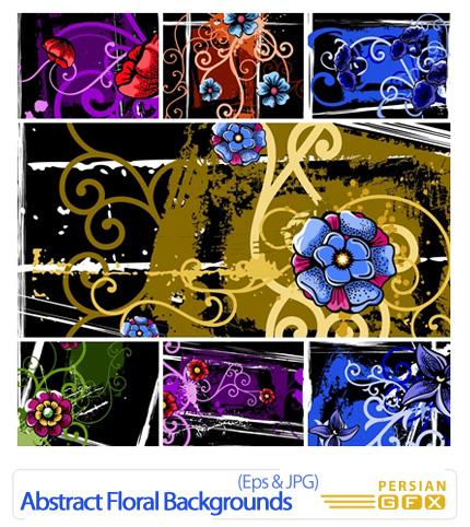دانلود وکتور بک گراند گل دار انتزاعی - Abstract Floral Backgrounds