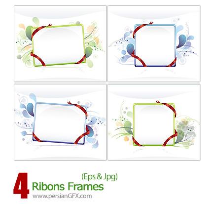 دانلود فرم وکتور روبان دار - Ribons Frames