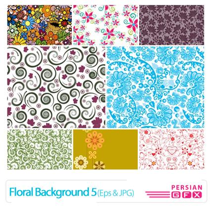 دانلود وکتور بک گراند گل دار شماره پنج - Floral Backgrounds 05