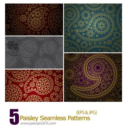 دانلود پترن های تزیئنی بته جقه، سنتی - Paisley Seamless Patterns