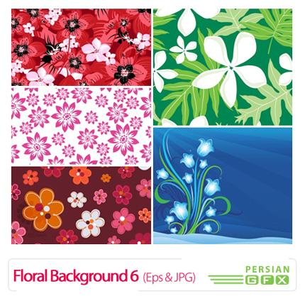 دانلود وکتور بک گراند گل دار شماره شش - Floral Backgrounds 06