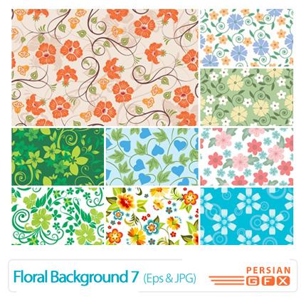 دانلود وکتور بک گراند گل دار شماره هفت - Floral Backgrounds 07