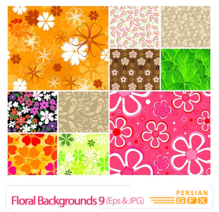 دانلود وکتور بک گراند گل دار شماره نه - Floral Backgrounds 09