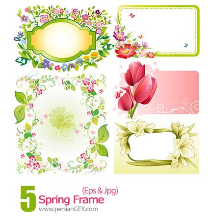 دانلود فریم وکتور بهاری، گل دار - Spring Frame
