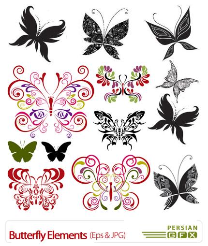 دانلود وکتور پروانه، عناصر طراحی - Butterfly Elements