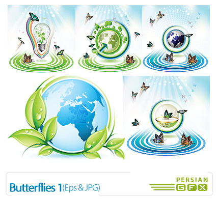 دانلود وکتور پروانه - Butterflies 01