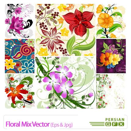 دانلود وکتور گل دار ترکیبی - Floral Mix Vector