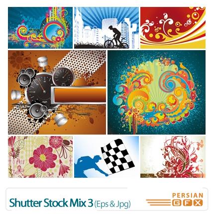 دانلود وکتور گل دار ترکیبی - Shutter Stock Mix 03
