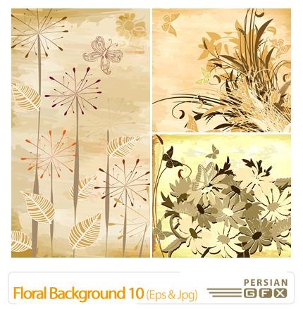 دانلود وکتور بک گراند گل دار شماره ده - Floral Backgrounds 10