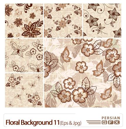 دانلود وکتور بک گراند گل دار شماره یازده - Floral Backgrounds 11