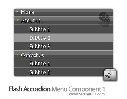 دانلود کامپوننت فلش، کامپوننت منوی آکوردنی در فلش - Flash Accordion Menu Component