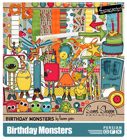 دانلود کلیپ آرت تزیینی تولد، عناصر طراحی، حروف، بافت - Birthday Monsters