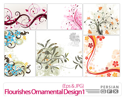 دانلود وکتور گل دار - Flourishes Ornamental Design 01