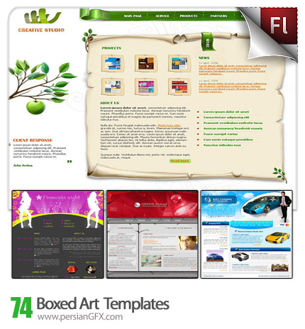 دانلود مجموعه نمونه آماده وب سایت با موضوعات تجاری، شرکتی، تفریحی، بنیاد های خیریه و سازمان ها - Boxed Art Templates