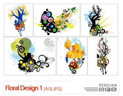 دانلود وکتور گل دار - Floral Design 01