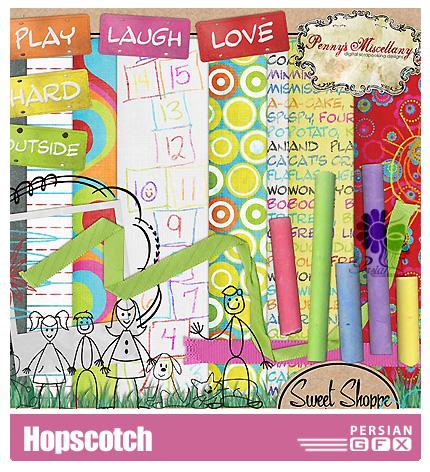 دانلود کلیپ آرت تزیینی، بازی لی لی، عناصر طراحی - Hopscotch