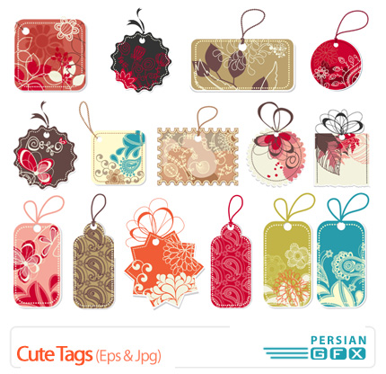 دانلود وکتورهای برچسب گل دار - Cute Tags