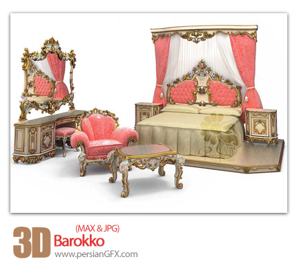 دانلود فایل آماده سه بعدی، اتاق خواب - 3D Barokko