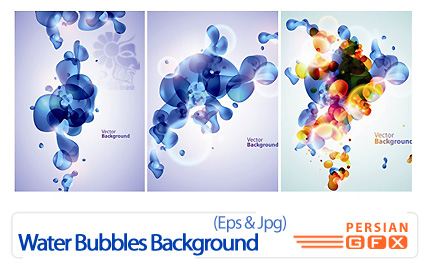 دانلود وکتور بک گراند حباب آب - Water Bubbles Background