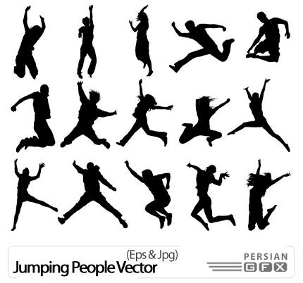 دانلود وکتور سیلوئیت پرش افراد - Jumping People Vector
