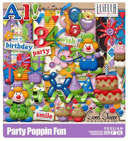دانلود کلیپ آرت مهمانی،بافت،عدد،حروف انگلیسی،عناصر طراحی - Party Poppin Fun