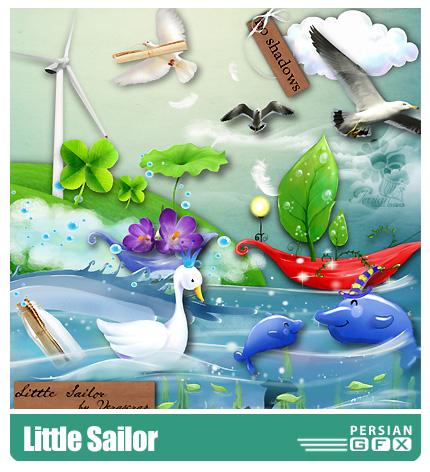 دانلود کلیپ آرت ملوان کوچولو، عناصر طراحی، حروف، بافت - Little Sailor