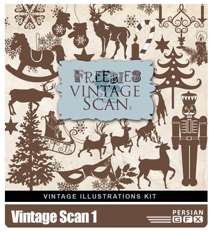 دانلود کلیپ آرت کریسمس,درخت,گوزن - Vintage Scan 1