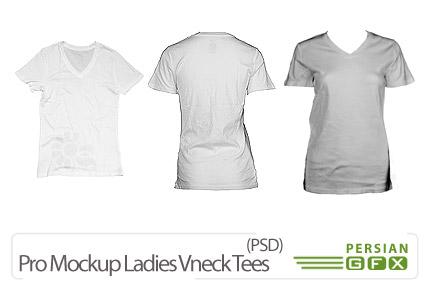 دانلود پیش نمایش تی شرت زنانه - Pro Mockup Ladies Vneck Tees