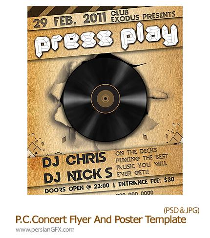 دانلود نمونه تصویر لایه باز آگهی تبلیغاتی الگو و پوستر - Party Club Concert Flyer And.Poster Template