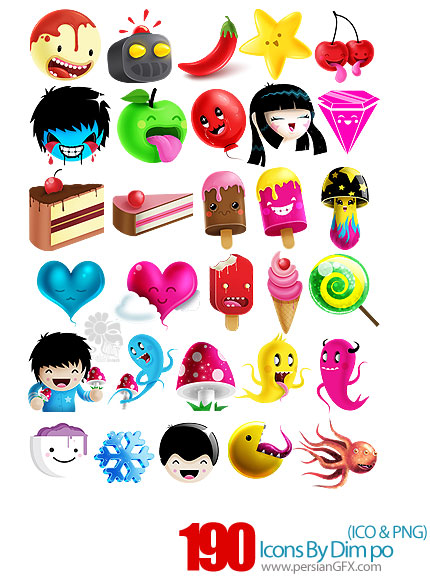 دانلود آیکون های کارتونی - Icons By Dim Po