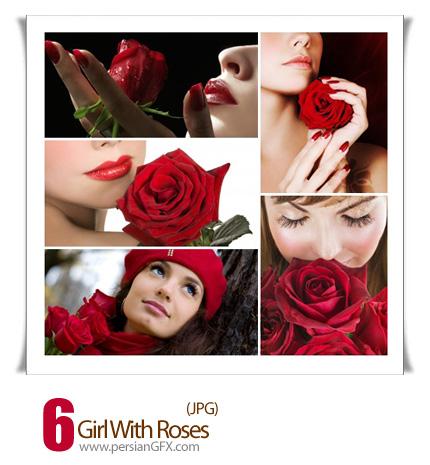دانلود تصاویر دختر با گل سرخ - Girl With Roses