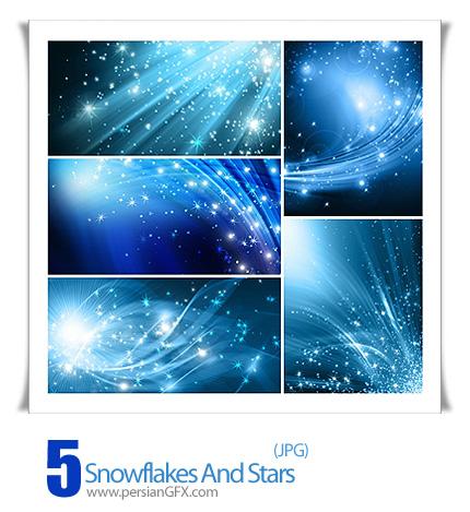 دانلود تصاویر پس زمینه برف و ستاره - Snowflakes And Stars Descending On Background