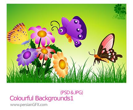 دانلود تصاویر لایه باز پس زمینه رنگارنگ - Colourful Backgrounds 01