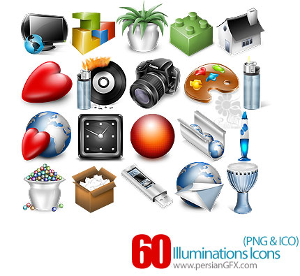 دانلود آیکون های متنوع نور افشان - Illuminations Icons