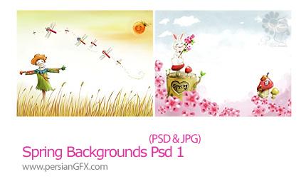 دانلود تصاویر لایه باز پس زمینه بهار - Spring Backgrounds PSD 01
