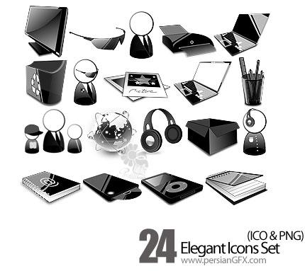 دانلود آیکون های متنوع سیاه رنگ - Elegant Icons Set