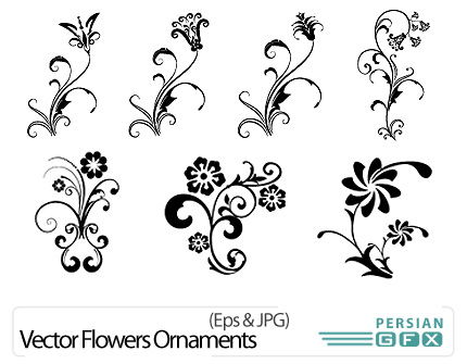 دانلود تصاویر وکتور گل تزئینی سیاه و سفید - Vector Flowers Ornaments Vectors