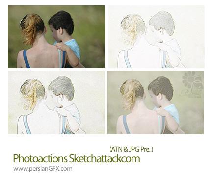 دانلود اکشن تبدیل عکس به نقاشی - Photo actions Sketch attackcom