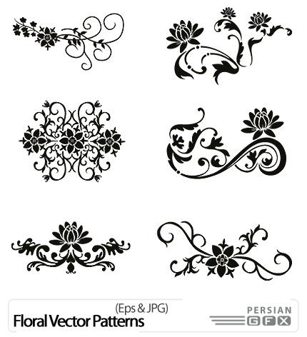 دانلود تصاویر وکتور گل تزئینی - Floral Vector Patterns