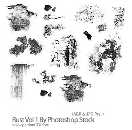 دانلود براش حالت زنگ زده، خش خورده، زبری فلزات - Rust Vol 1 By Photoshop Stock
