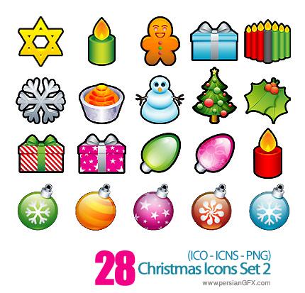 کلکسیون آیکون های کریسمس -02 Christmas Icons Set