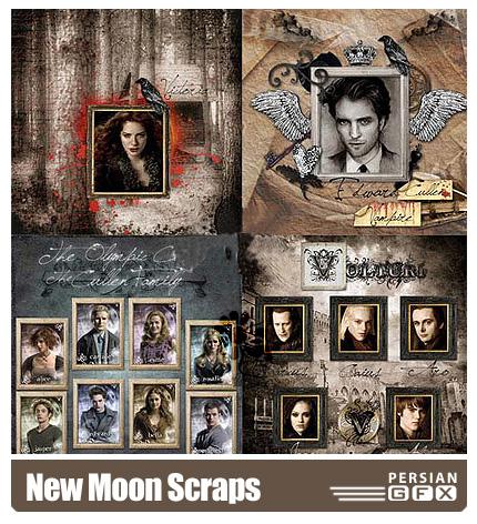 دانلود کلیپ آرت قاب و بک گراند قدیمی - New Moon Scraps